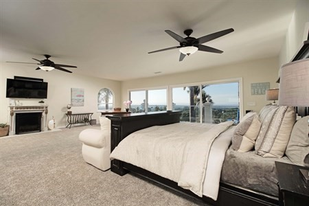 Master Bedroom with Fireplace, Ocean Views, California Dream Home