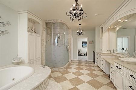 Master bathroom, jacuzzi tub, chandeliers