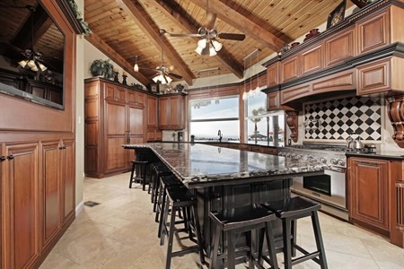 California dream home dream kitchen kitchen island ocean views
